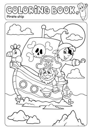Coloring book pirate boat theme