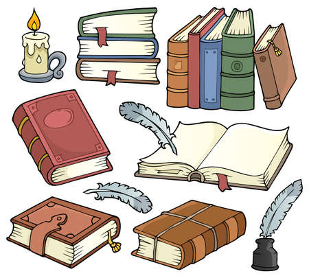 Old books theme set Illustration