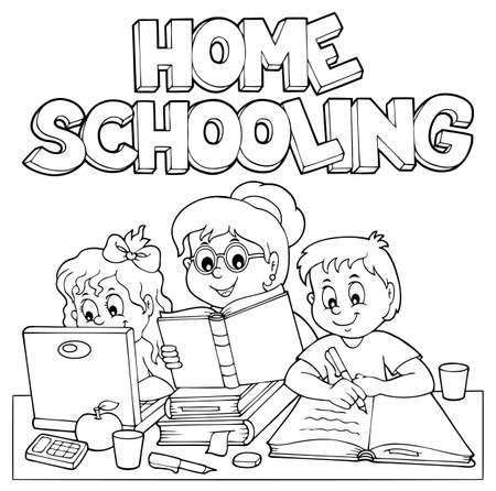 Home schooling monochrome image Illustration