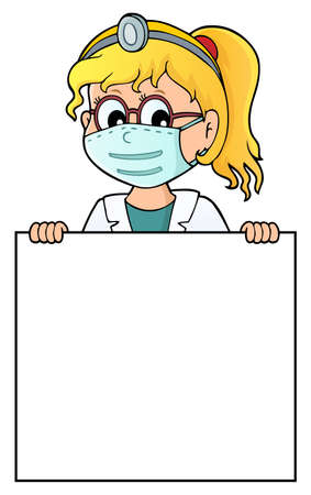 Doctor holding blank panel topic image