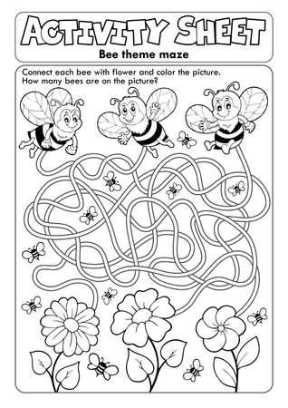 Activity sheet bee theme Ilustrace