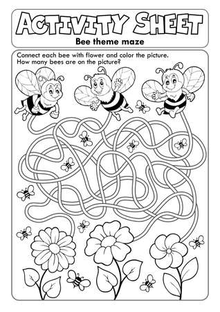 Activity sheet bee theme Illustration