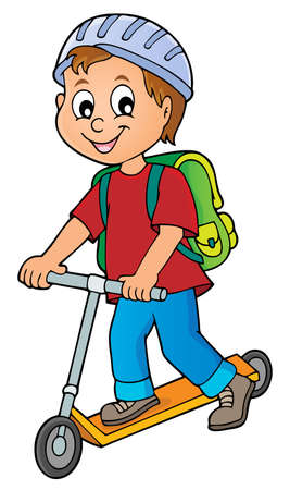 Boy on kick scooter theme image 1 - eps10 vector illustration. Illustration