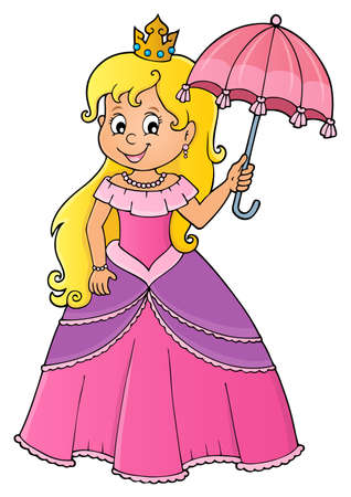 Princess with umbrella theme image 1 - eps10 vector illustration.