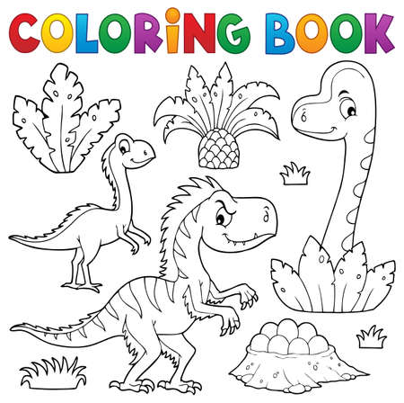Coloring book dinosaur composition