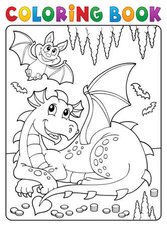 Coloring book lying dragon theme 3 - eps10 vector illustration.