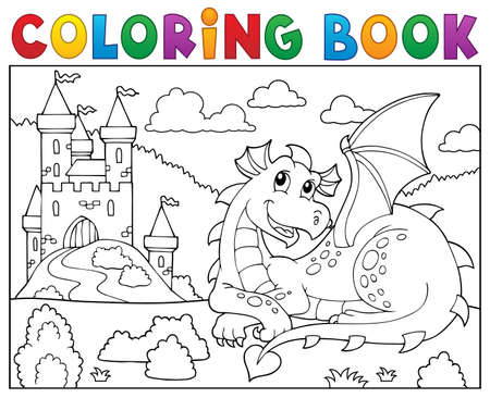 Coloring book lying dragon Illustration