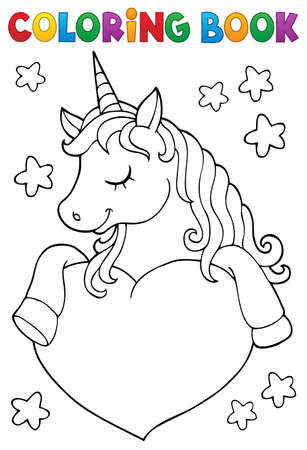 Coloring book unicorn and heart 1 - eps10 vector illustration.