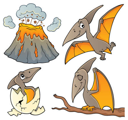 Pterodactyls theme set 1 - eps10 vector illustration.