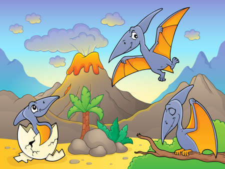 Pterodactyls near volcano image 1 - eps10 vector illustration. Illustration