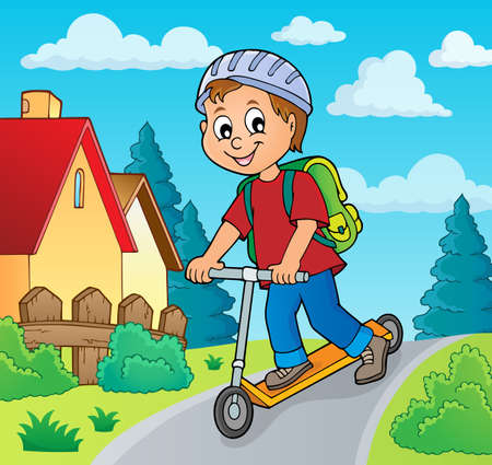 Boy on kick scooter theme image 2 - eps10 vector illustration.