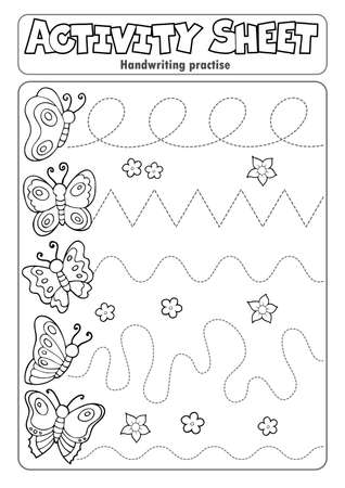 Activity sheet handwriting practise topic 3 - eps10 vector illustration.