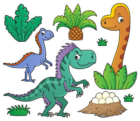 Dinosaurs and prehistoric nature theme set 1 - eps10 vector illustration.