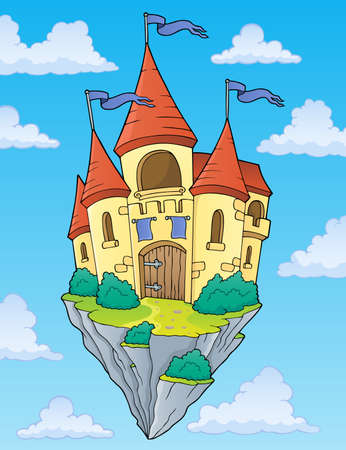 Flying castle theme Illustration