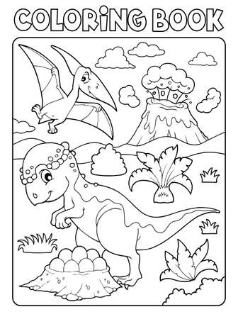 Coloring book dinosaur subject image 7 - eps10 vector illustration.