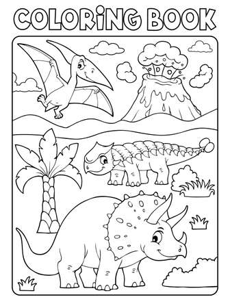 Coloring book dinosaur subject
