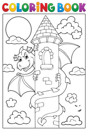 Coloring book dragon on tower