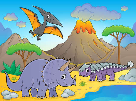 Dinosaurs near volcano Illustration