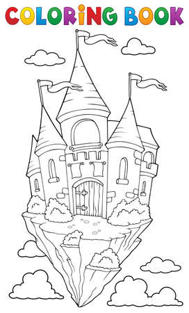 Coloring book flying castle