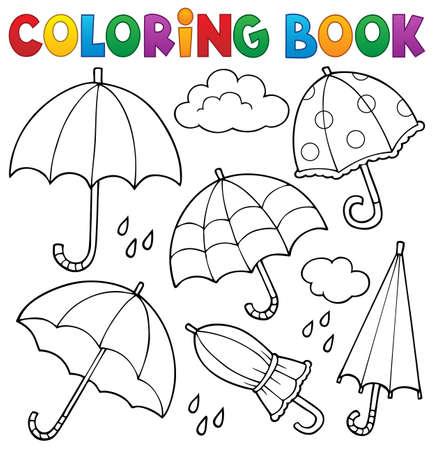 Coloring book umbrella theme set 1 - eps10 vector illustration.