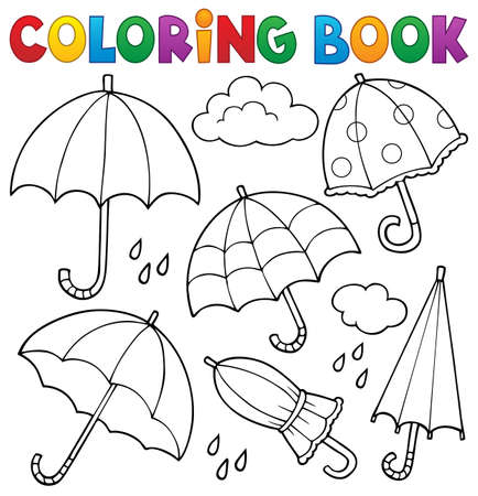 Coloring book umbrella theme set 1 - eps10 vector illustration.
