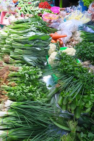 healthy vegetables at a local market, Thailand