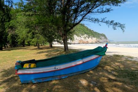 Small colorful boat at the beach, khao-sam-roi-yot national Park