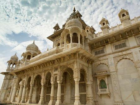 maharaja: Jodhpur, Rajasthan, India-August 19, 2012: Jaswant Thada. Ornately carved white marble tomb of the former rulers of Jodhpur, Rajasthan, India.Made by the Maharaja Jaswant Singh II