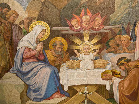 arise: detail of mosaic representing the nativity in the Basilica of the Rosary, Lourdes
