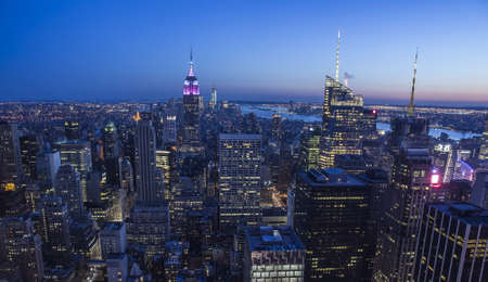 broadway tower: Aerial View of New York City at night