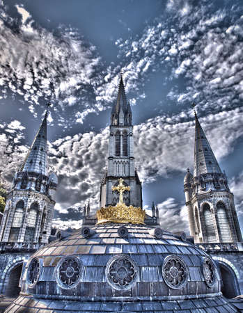 steeples: steeples of the basilicas of Lourdes Stock Photo