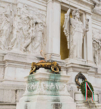 altar of fatherland: Burning brazier at the Tomb of the Unknown Soldier at the Altar of the Fatherland in Rome