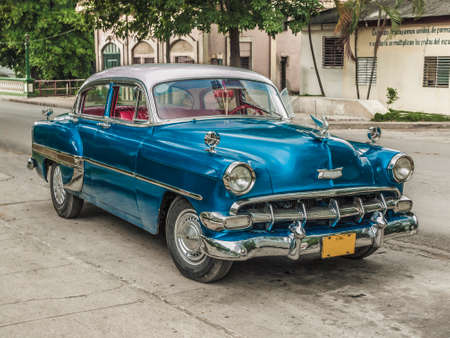 very good: Old american car parked in very good condition in a small Cuban village