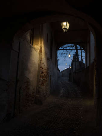 saluzzo: typical street in the historic center of Saluzzo, the small town of Piedmont Stock Photo