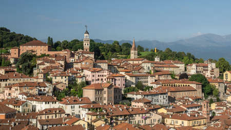 overview of the historic center of Saluzzo, a town located in Piedmont