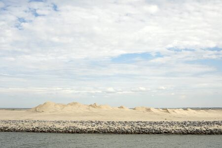 Manmade archipelago in development located in the Markermeer, Holland, the first sign of the Marker Wadden is a long finger of sand dunes designed to protect against flooding.