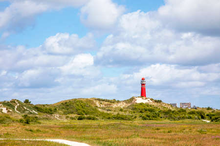 The north tower, lighthouse on the Nord Sea side at the island Schiermonnikoog in the Netherlands