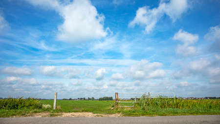 Fence gate that is open in agricultural land, bright green meadow with high sky with clouds and clear horizon in the background.