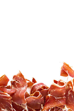 Spanish ham (ham) vertical composition. Design for menu restaurant template, space for text