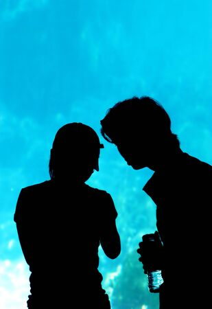 Couple in the aquarium