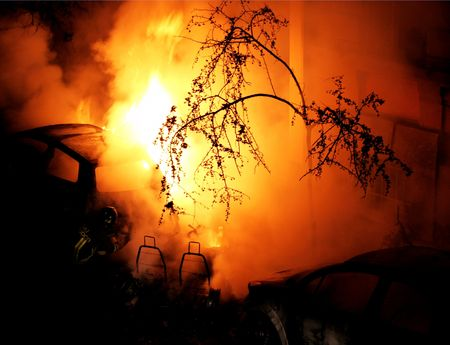 arbol de problemas: Fire - Grabaci�n de coches - Emergencias --  Foto de archivo