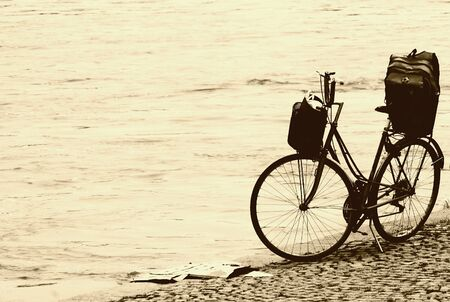 Vintage bicycle on the beach Stock Photo