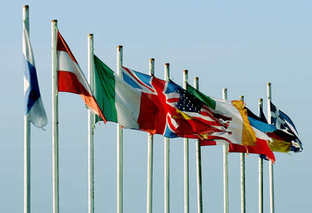 multinational: Flags from all over the world Stock Photo