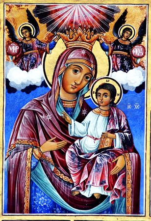 madonna: Ancient painting, Orthodox religion - Bulgaria