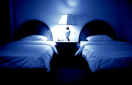 view of a comfortable bedroom: Blue room