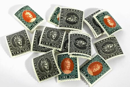 Vintage Italian stamps for paying taxes photo