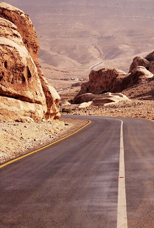 Road in the rock desert photo