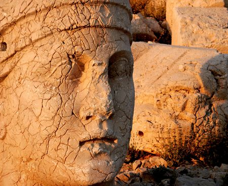 monumental: Monumental head of Apollo at sunset, Namrut Dagi, Turkey