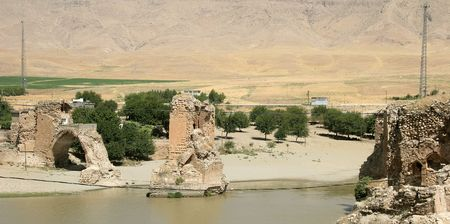 tigris: Ruins on the Tigris river, Hasankeyf village, Turkey. It will be flooded for the GAP dam project.