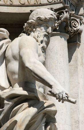 The statue of Neptune or Oceanus, Trevi Fountain, Rome